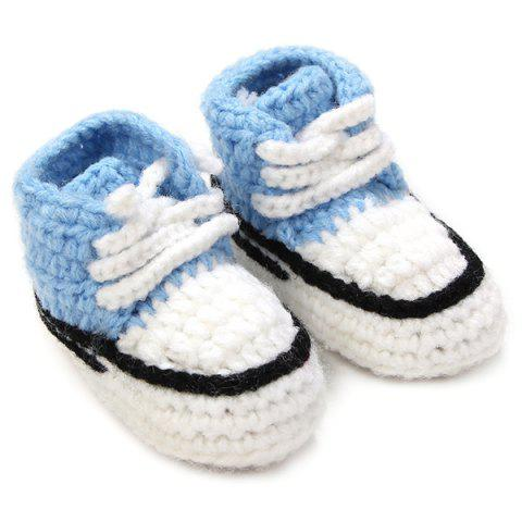 Lace-Up Canvas Shape Knit Baby Booties - LIGHT BLUE
