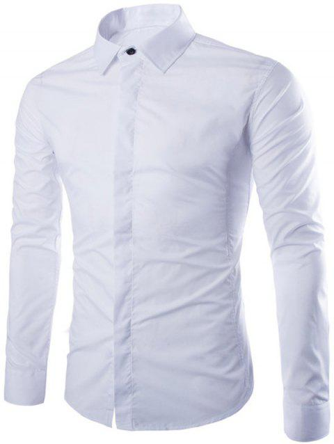 Long Sleeve Fly Front Shirt - WHITE 2XL