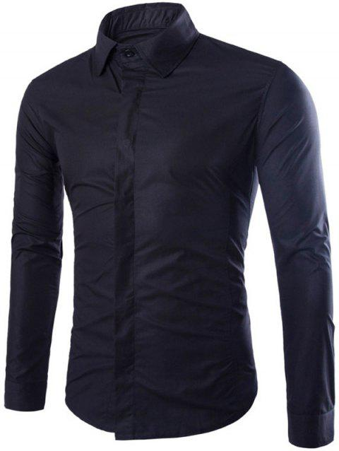 Long Sleeve Fly Front Shirt - BLACK 2XL