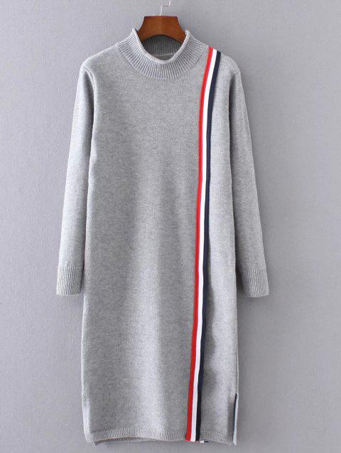 High Neck Slit Striped Sweater Dress - GRAY ONE SIZE
