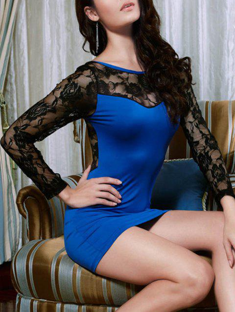See-Through Lace Insert Mini Dress - BLUE ONE SIZE