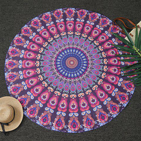 Ethnic Feather Mandala Print Round Beach Throw - DEEP PURPLE ONE SIZE