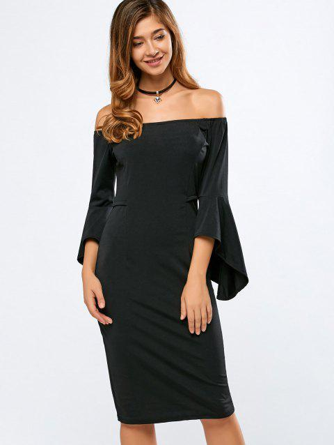 Off The Shoulder Bell Sleeves Bodycon Dress - BLACK L