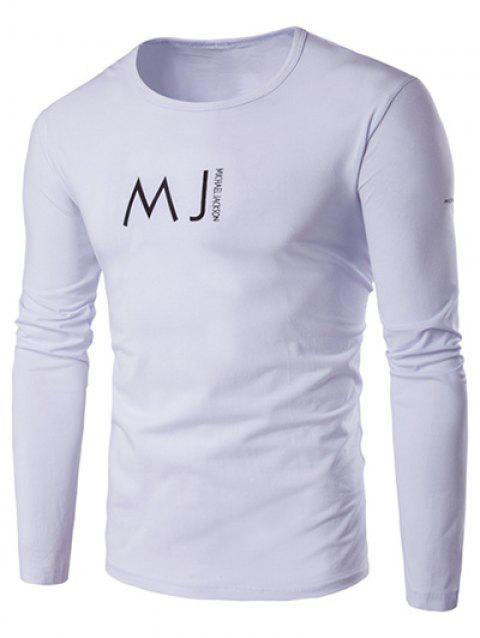Round Neck Long Sleeve MJ Printed T-Shirt - WHITE 4XL