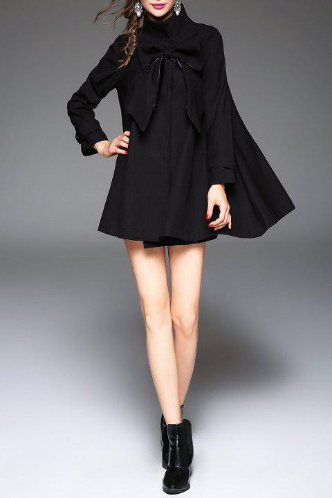 Stand Collar Bowknot Oversized Coat - BLACK S