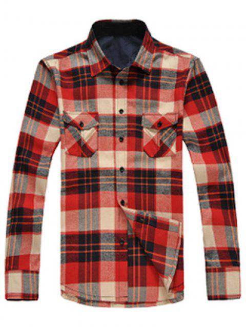 Button Up Breast Pockets Plaid Shirt - RED 2XL