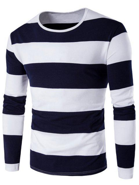 Round Neck Long Sleeve Stripe T-Shirt - CADETBLUE 4XL