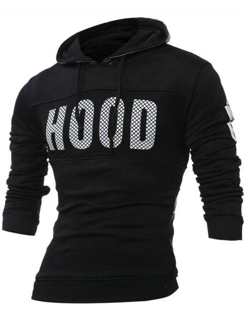 Graphic Long Sleeves Drawstring Hoodie - BLACK 3XL