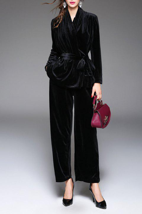 V Neck Belted Wrap Coat and Wide Leg Pants - BLACK S