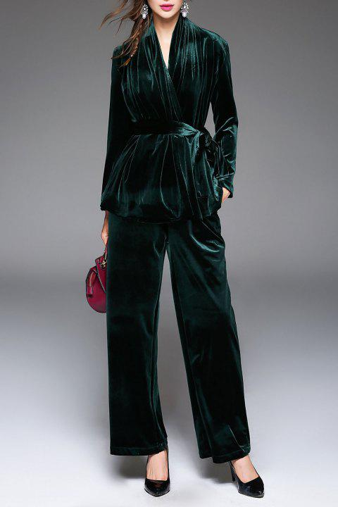 V Neck Belted Wrap Coat and Wide Leg Pants - BLACKISH GREEN XL