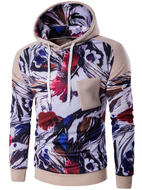 Floral Print Color Block Applique Pullover Hoodie - KHAKI 2XL