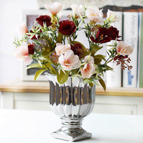 Home Decorative Real Touch Artificial Camellia Flower Bouquet - RED