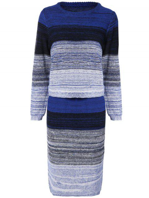 Striped Pullover Sweater + Knit Skirt - BLUE ONE SIZE