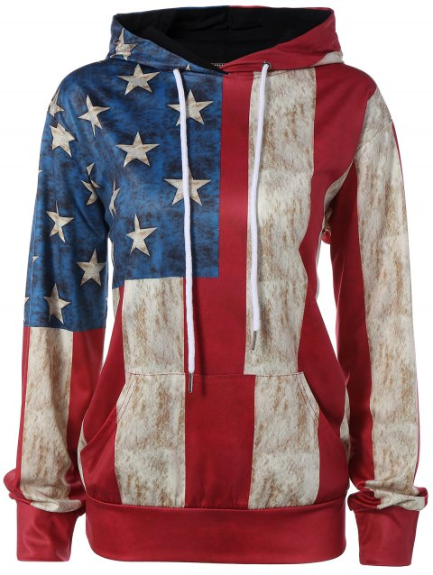 Pullover American Flag Print Hoodie - COLORMIX L
