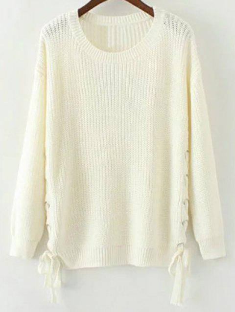 41% OFF  2019 Side Lace Up Open Knit Sweater In WHITE M  bf7db0a5d