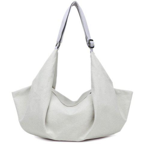 Canvas Zip Metal Shoulder Bag - WHITE