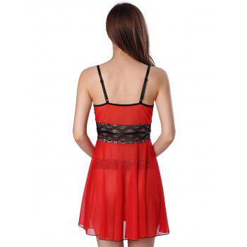Sequined Spliced Slit Plunge Babydoll With Briefs - RED 2XL