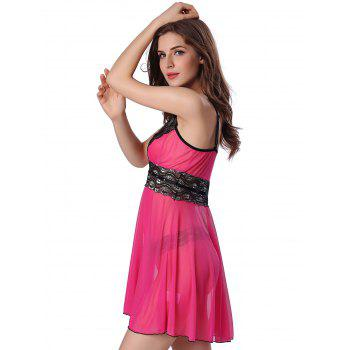 Sequined Spliced Slit Plunge Babydoll With Briefs - ROSE RED 2XL
