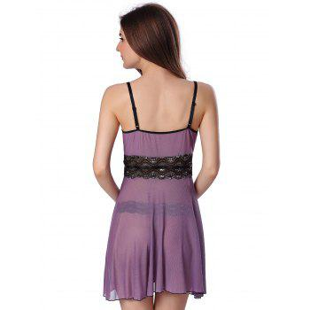 Sequined Spliced Slit Plunge Babydoll With Briefs - PURPLE 2XL
