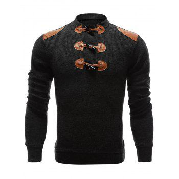 Claw Button Ribbed Shoulder Patch Long Sleeve Sweater