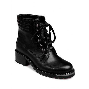 Rivets PU Leather Lace-Up Ankle Boots
