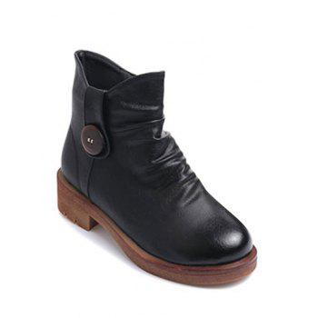 Chunky Heel Zipper Button Ankle Boots