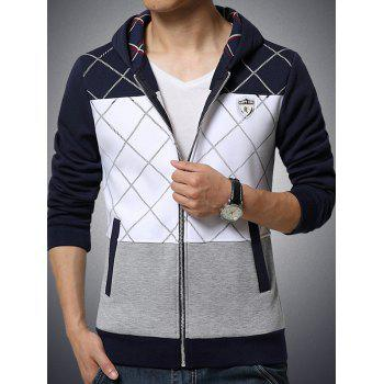Grid Pattern Zip Up Side Pocket Hoodie