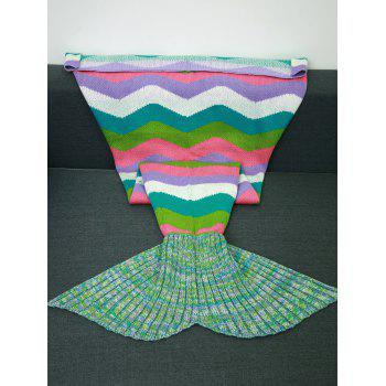 Knitting Colored Wave Stripes Design Mermaid Tail Blanket - COLORMIX COLORMIX