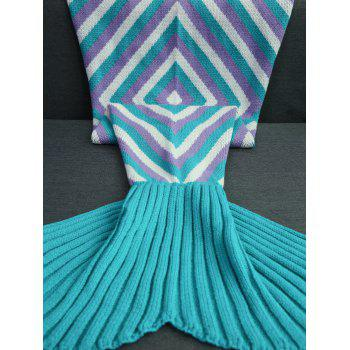 Keep Warm Geometry Pattern Crochet Knitted Mermaid Tail Blanket - COLORMIX