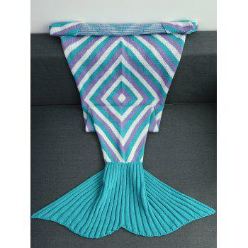 Keep Warm Geometry Pattern Crochet Knitted Mermaid Tail Blanket