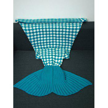 High Quality Inclined Plaid Pattern Knitted Mermaid Tail Blanket - LAKE BLUE LAKE BLUE