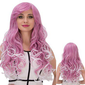 Cosplay Synthetic Long Fluffy Purple Mixed White Side Bang Wavy Wig