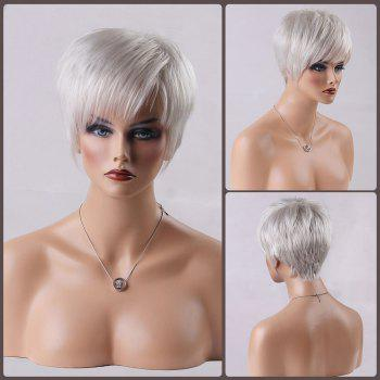 Short Straight Oblique Bang Real Natural Hair Wig