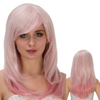 Fresh Pink Ombre Long Side Bang Straight Tail Adduction Film Character Cosplay Wig