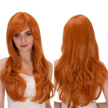 Long Fluffy Oblique Bang Wavy Synthetic Cosplay Lolita Wig