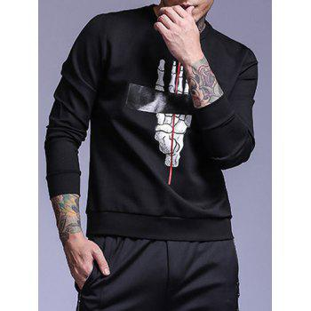 Long Sleeve Skull Hand Printed Crew Neck Sweatshirt - BLACK M