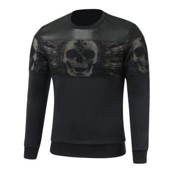 Paneled Faux Leather Insert Crew Neck Skull Sweatshirt