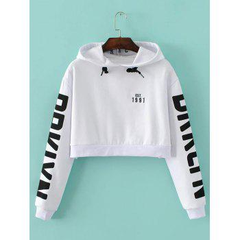Letter Cropped String Hoodie