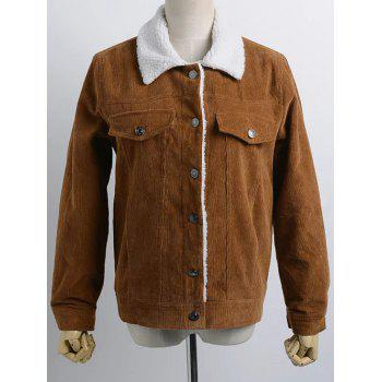 Buttoned Corduroy Shearling Jacket