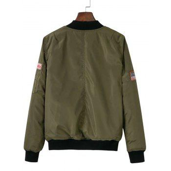 Zip-Up Patched Jacket - ARMY GREEN S