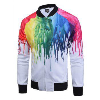 Buy Raglan Sleeve Paint Dripping Print Zip Jacket WHITE