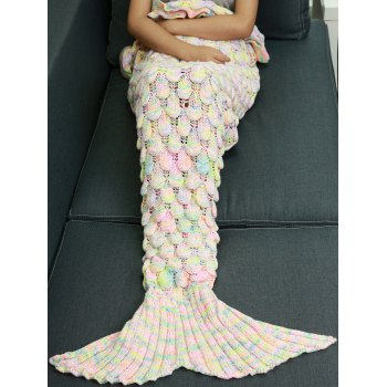 Openwork Fish Scale Design Knitting Mermaid Blanket For Kids - COLORMIX COLORMIX