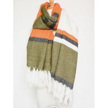 Winter Color Block Stripe Tassel Pendant Shawl Scarf