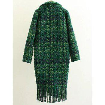 Houndstooth Fringed Woolen Coat - GREEN S