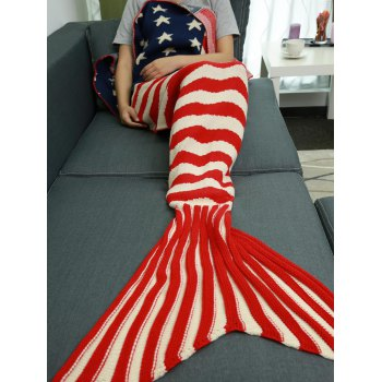 Warmth Stars and Stripes Pattern Knitting Mermaid Tail Blanket