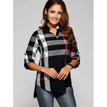 Long Sleeve Asymmetric Plaid Blouse