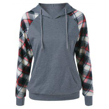Plaid Trim Single Pocket Hoodie