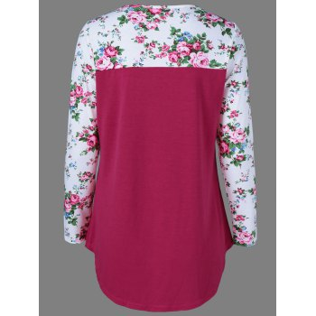 Casual Single Pocket Floral Trim T-Shirt - L L