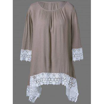 Plus Size Lace Hem Asymmetrical Blouse