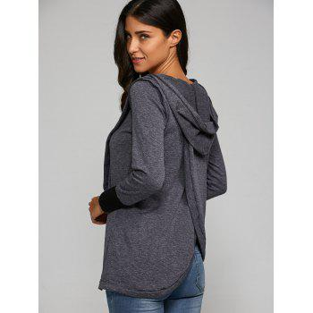Back Cross Hooded T-Shirt - DEEP GRAY DEEP GRAY